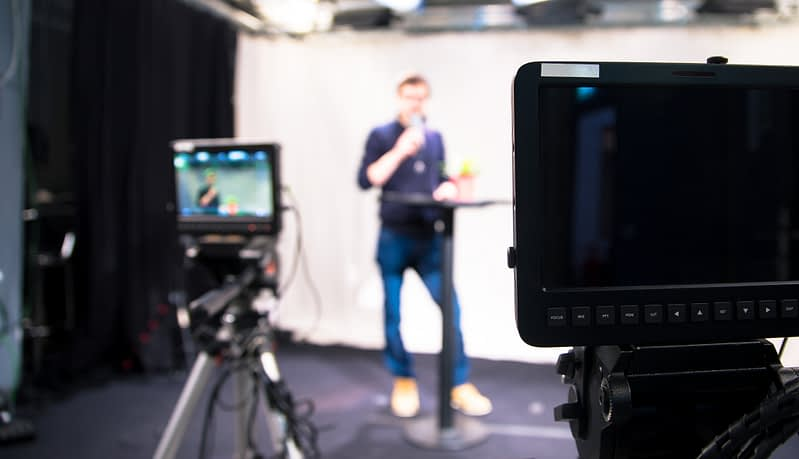 journalist in los angeles speaking on camera